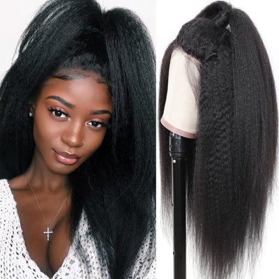 Klaiyi 9A Lace Kinky Straight Human Hair Wig On Sale 10-24inch
