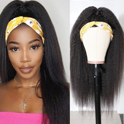 Klaiyi Kinky Straight Human Hair Half Wigs For Women Glueless Wigs Natural Color Gift Headband