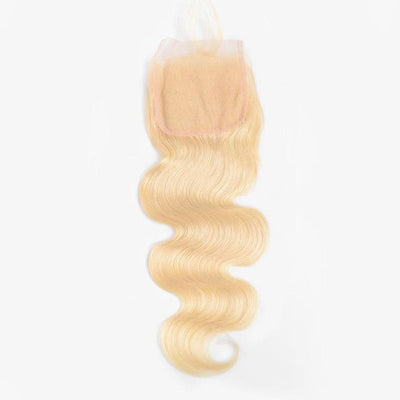 Klaiyi Hair 613 Blonde Body Wave Hair 4*4 Free Part Lace Closure, 100% Human Hair On Deals