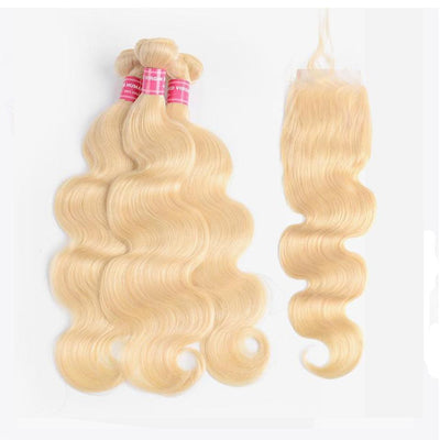 613 Blonde Body Wave Human Hair 3 Bundles with Lace Closure
