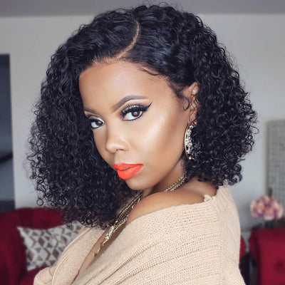 13*4 Short Bob Curly Hair Lace Front Wig On Deals, 150%/180% Density