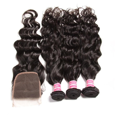 Klaiyi Malaysian Natural Wave hair 3 Bundles with Lace Closure Unprocessed Human Virgin Hair