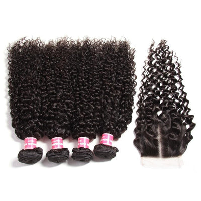 Klaiyi Malaysian Virgin Curly Hair 4 Bundles With 4*4 Closure Human Virgin Hair Extensions