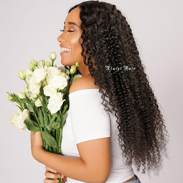 Peruvian curly hair 3 Bundles with 4*4 closure-Klaiyi Hair