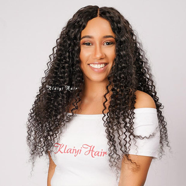 Klaiyi Brazilian Curly Hair Free Part 13x4 Lace Frontal Closure With 4Bundles Curly Hair Bundles