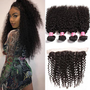 4 Bundles Malaysian Curly Hair with Ear to Ear Lace Frontal Closure-Klaiyi Hair