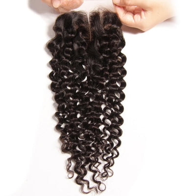 Klaiyi Malaysian Curly Human Virgin Hair 4x4 Lace Closure