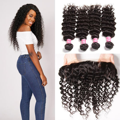 8A Brazilian Deep Wave 4 Bundles with Lace Frontal Closure Human Virgin Hair Extension