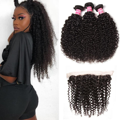 Indian Curly Hair 3 Bundles with Lace Frontal Closure Ear to Ear 13*4 Closure -Klaiyi Hair