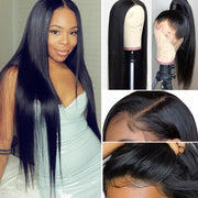 9A Grade 13*4 Lace Front Silky Straight Human Hair Wig, 180%/150% Density