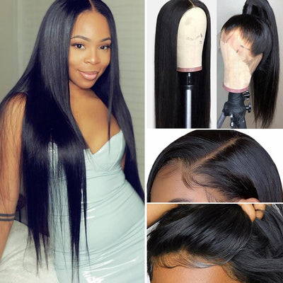 9A Grade 13*4/360 Lace Front Silky Straight Human Hair Wig, 180%/150% Density
