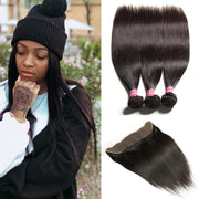 Klaiyi Malaysian Straight Hair Weave 3 Bundles with Ear to Ear Lace Frontal Closure