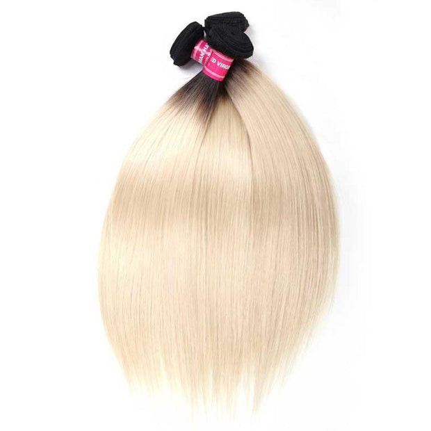 1 Bundles T1B/613 Straight Hair Bundles, Ombre Hair, 2 Tone Color Human Hair Weave