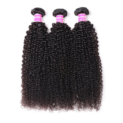 Klaiyi Malaysian Kinky Curly Hair 3 Bundles Natural Black 100% Human Hair Weave