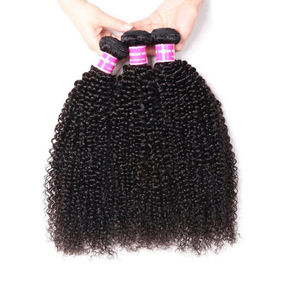 Klaiyi Hair 3pcs Peruvian 100% Human Virgin Kinky Curly Hair Weave Virgin Human Hair Bundle