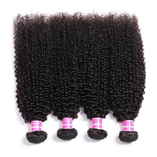 Klaiyi Hair Quality 4 Bundles Indian Kinky Curly Natural Black Virgin Human Hair Weave Deals