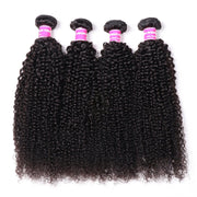 Klaiyi 4Pcs Malaysian Kinky Curly Hair Weave on Sale 8-26 inch Natural Black Color