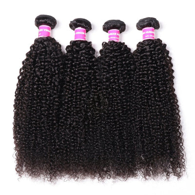 Klaiyi Hair 4 Bundles Peruvian Kinky Curly Virgin 100% Human Virgin Hair Weave Deals