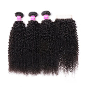Klaiyi Malaysian 100% Human Hair Kinky Curly Hair 3 Bundles with 4*4 Lace Closure Human Hair Weave