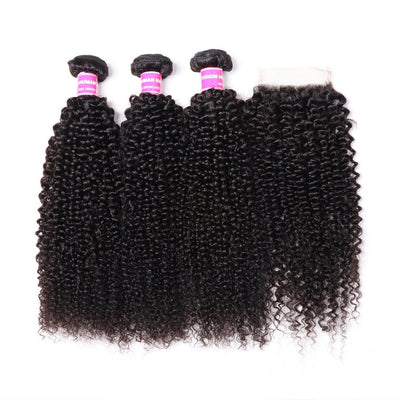Malaysian Kinky Curly Hair 3 Bundles with 4*4 Lace Closure On Sale