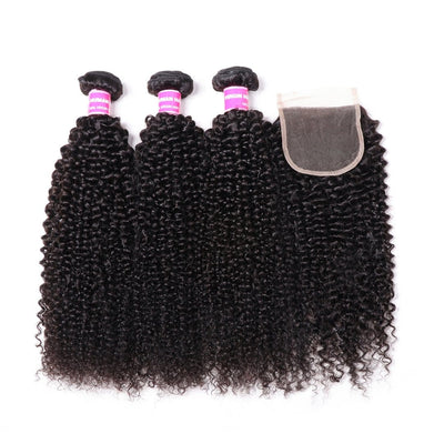 Klaiyi Hair Indian Kinky Curly Hair Weave 3 Bundles with 4*4 Lace Closure 100% Human Hair Weave