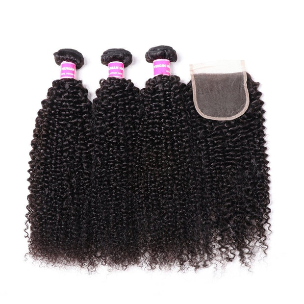 3 Bundles Indian Kinky Curly Hair Weave with 4*4 Lace Closure