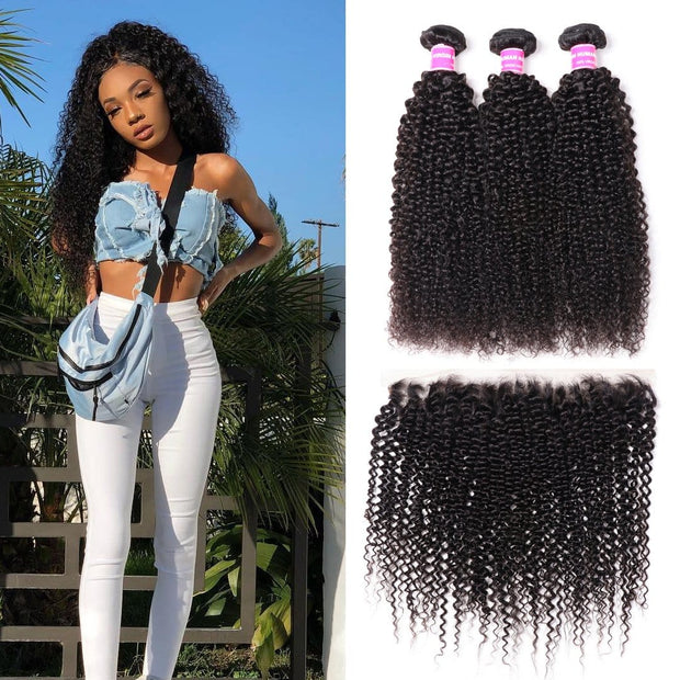 Klaiyi Brazilian Kinky Curly Hair 3 Pcs with 13*4 Ear to Ear Lace Frontal 100% Human Virgin Hair