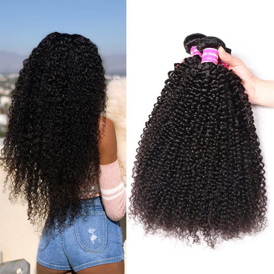 4 Bundles Kinky Curly Virgin Brazilian Human Hair Weave Deals