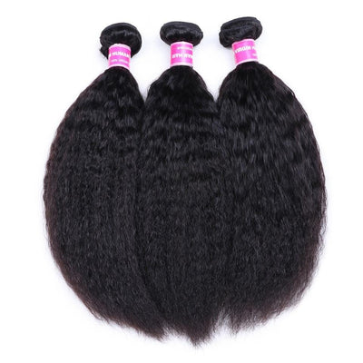 Klaiyi 3 Bundles Brazilian Kinky Straight Human Hair Weft Deals on Sale 100% Human Bundles