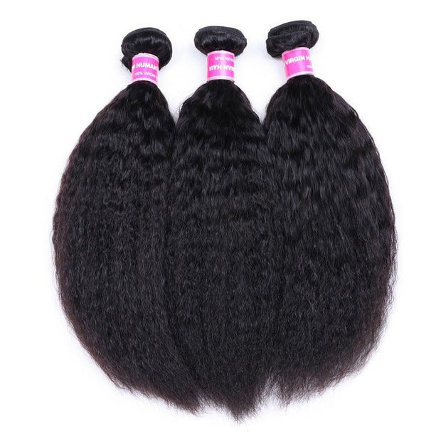 Klaiyi 3 Bundles Brazilian Kinky Straight Human Hair Weft Deals on Sale
