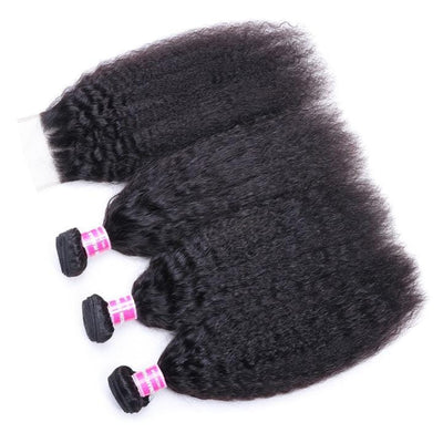 8A Grade Virgin Peruvian Kinky Straight Hair 3 Bundles with 4*4 Lace Closure