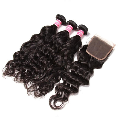 Peruvian Natural Wave 3 Bundles with Lace Closure Deals