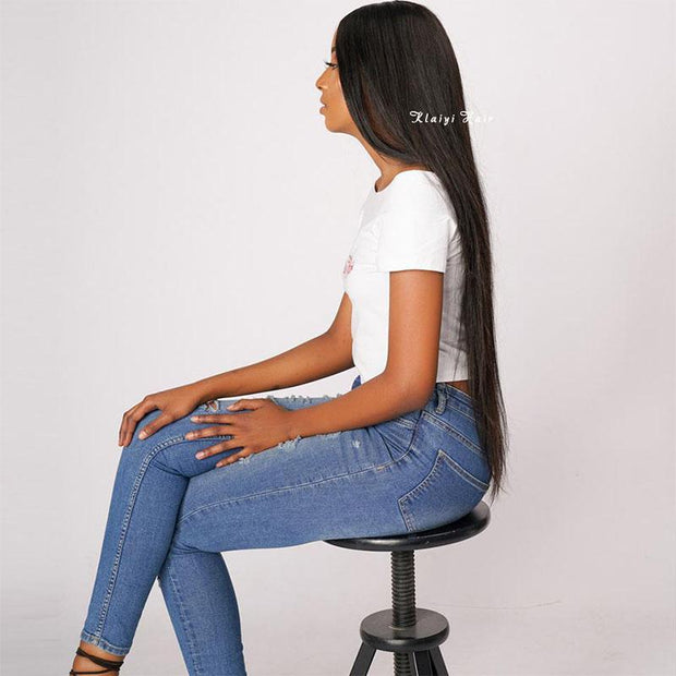 Klaiyi 7A Malaysian Straight Virgin Hair 3Bundles with 4x4 Lace Closure