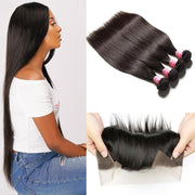 Klaiyi Brazilian 4 Bundles Straight Human Virgin Hair With Lace Frontal Closure