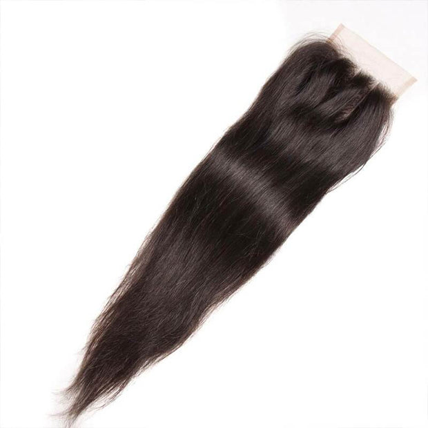 Indian Straight Hair 4 Bundles with 4*4 Lace Closure Deals-Klaiyi Hair