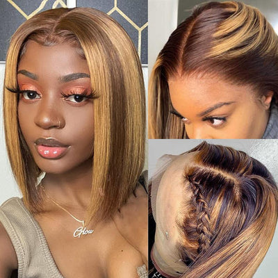 Klaiyi 9A 13*4 Lace Front Short Straight Bob TL412 Ombre Color 150% Density Wig