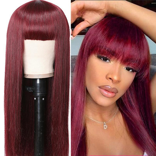 Klaiyi 99j Red Color Straight Wigs With Bangs For Women 100% Virgin Human Hair Wigs