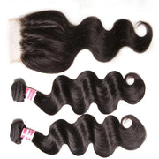 Klaiyi Hair Body Wave 4x4 Lace Closure Wigs Virgin Human Hair Wig 200% Density