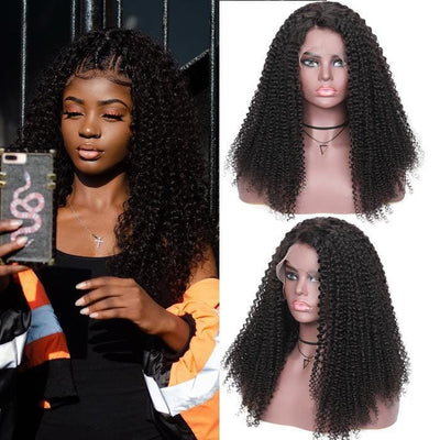 Klaiyi 9A Bohemian Kinky Curly Lace Front Human Hair Wigs 13x4 150% Density Remy Pre-plucked Bohemian Lace Wigs