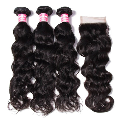 Klaiyi 7A Brazilian Virgin Hair Natural wave 3 Bundles with 1piece Lace Closure Human Hair