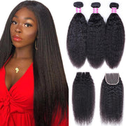Klaiyi Hair Malaysian Kinky Straight Hair 3 Bundles with 4*4 Lace Closure 100% Human Hair Weaving
