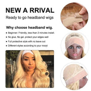 Klaiyi Hair Natural Wave Headband Wigs 613 Blonde Color Glueless Human Hair Wigs With Pre-attached Scarf