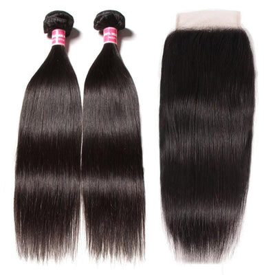 Klaiyi Hair Straight Hair 4x4 Lace Closure Wigs Virgin Human Hair Wig 200% Density