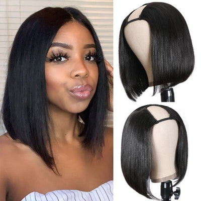 Klaiyi 150 Heavy Density Short Bob U Part Wig Natural Color Brazilian Human Hair Upart Wigs For Women