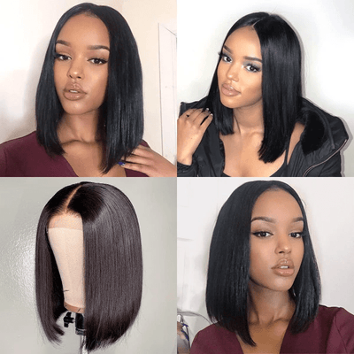 Klaiyi Youth Series Straight Short Bob Wig 4*4 Lace 150% Density Wig 100% Human Hair Super Soft