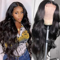 Klaiyi 100% High Quality Virgin Human Hair Body Wave Wigs Lace Part Wig Natural Black Hair Wigs