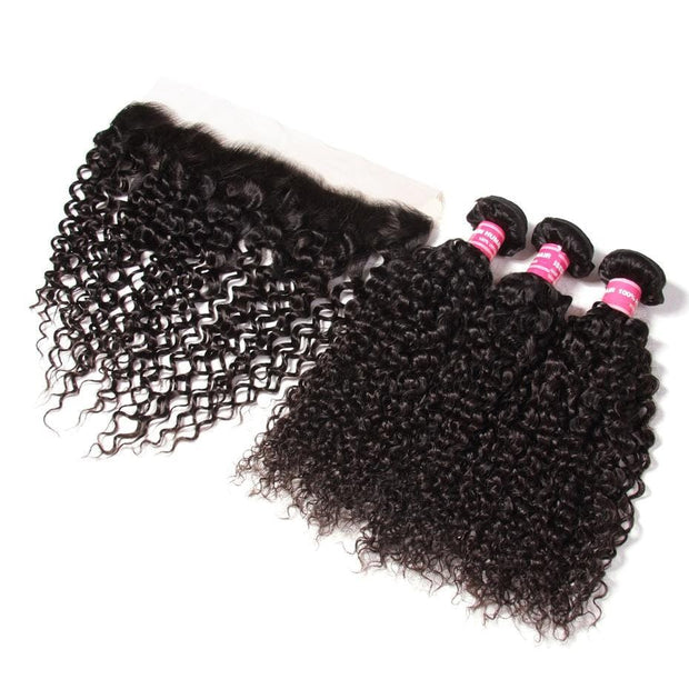 Klaiyi Brazilian Curly Hair 13x4 Lace Frontal With Bundles 3Pcs/Pack