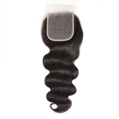 Klaiyi 4*4 Transparent Swiss Lace Body Wave Lace Closure