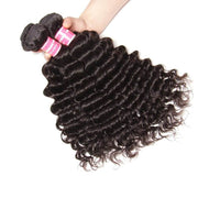 Klaiyi Hair Deep Wave Bundle Malaysian Curly Hair 4 Bundles Hair Weave 100% Human Hair
