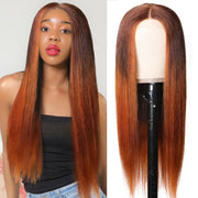 Klaiyi Lace Part Wig LT430 Ombre Straight Human Hair Fake Scalp Wigs 150% Density